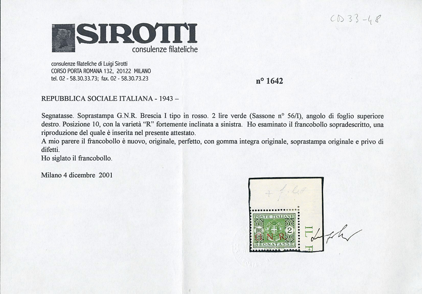 Lot 1250 - ITALIA RSI SEGNATASSE -  Zanaria Aste s.r.l. 9th Philatelic Auction