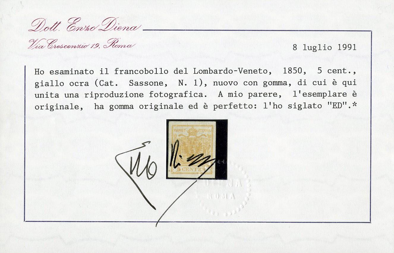 Lot 1 - lombardo veneto posta ordinaria -  Zanaria Aste s.r.l. 9th Philatelic Auction