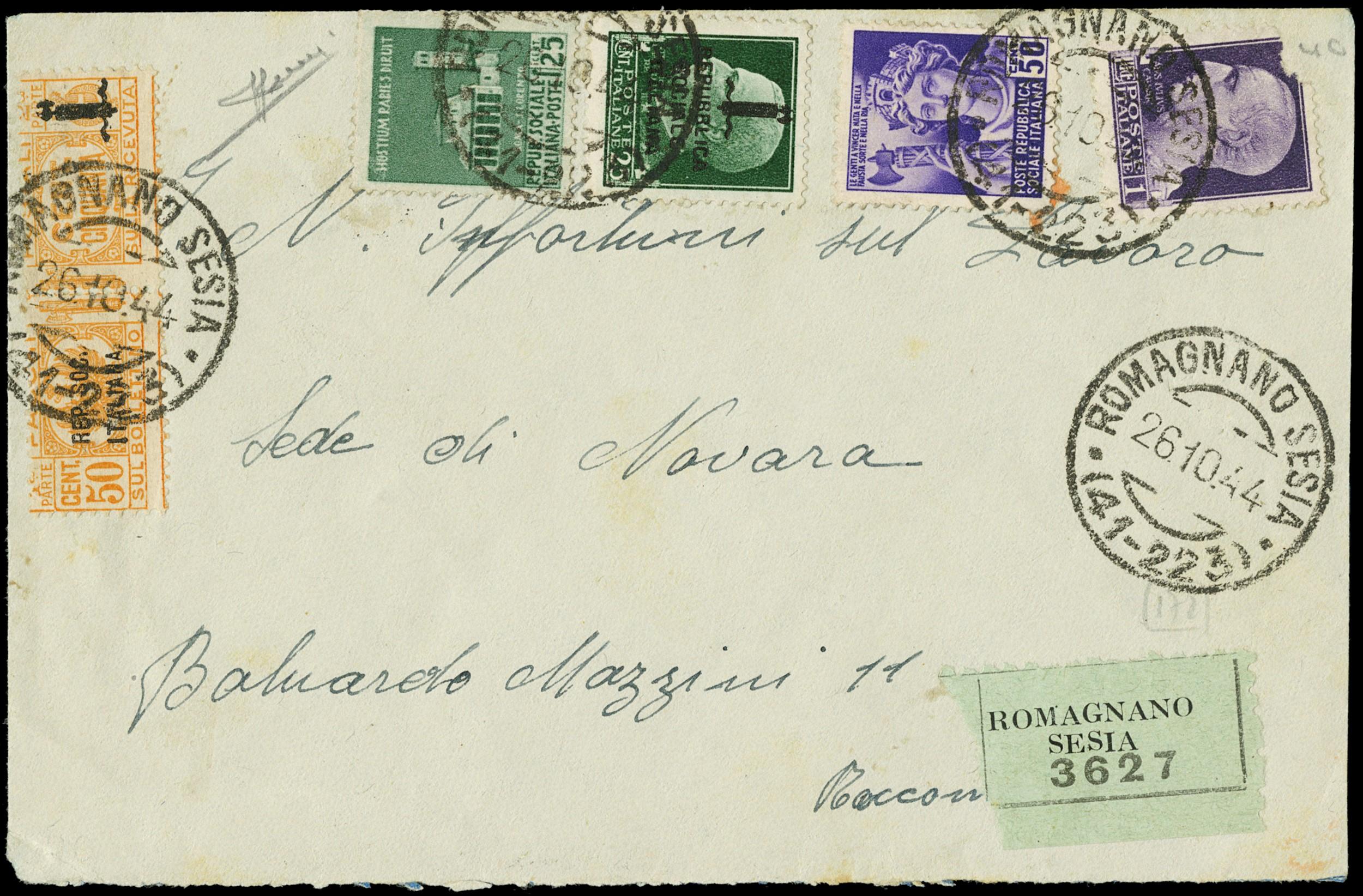 Lot 1239 - ITALIA RSI PACCHI POSTALI -  Zanaria Aste s.r.l. 9th Philatelic Auction