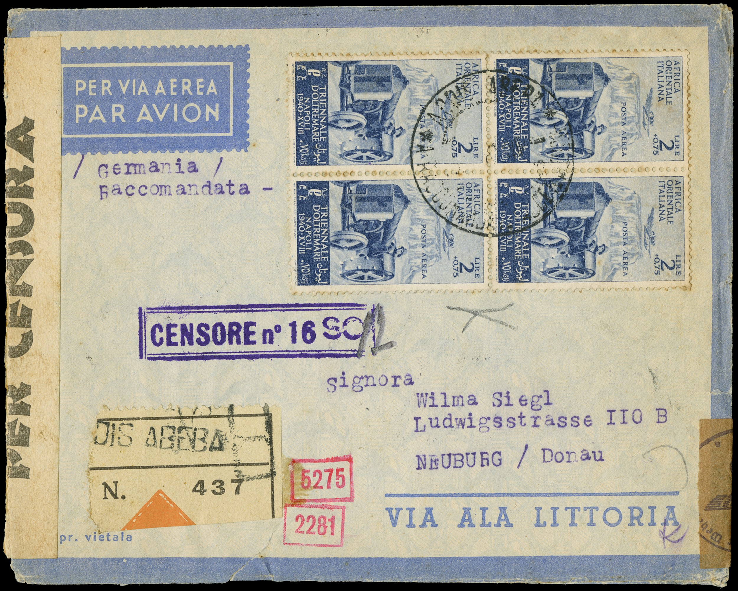 Lot 1354 - Colonie Italiane - Africa Orientale Italiana posta aerea -  Zanaria Aste s.r.l. 9th Philatelic Auction