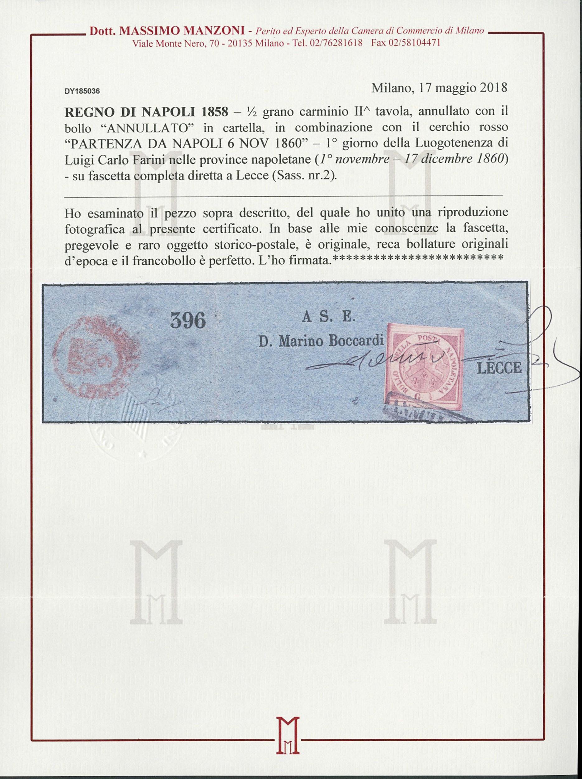 Lot 169 - napoli posta ordinaria -  Zanaria Aste s.r.l. 9th Philatelic Auction