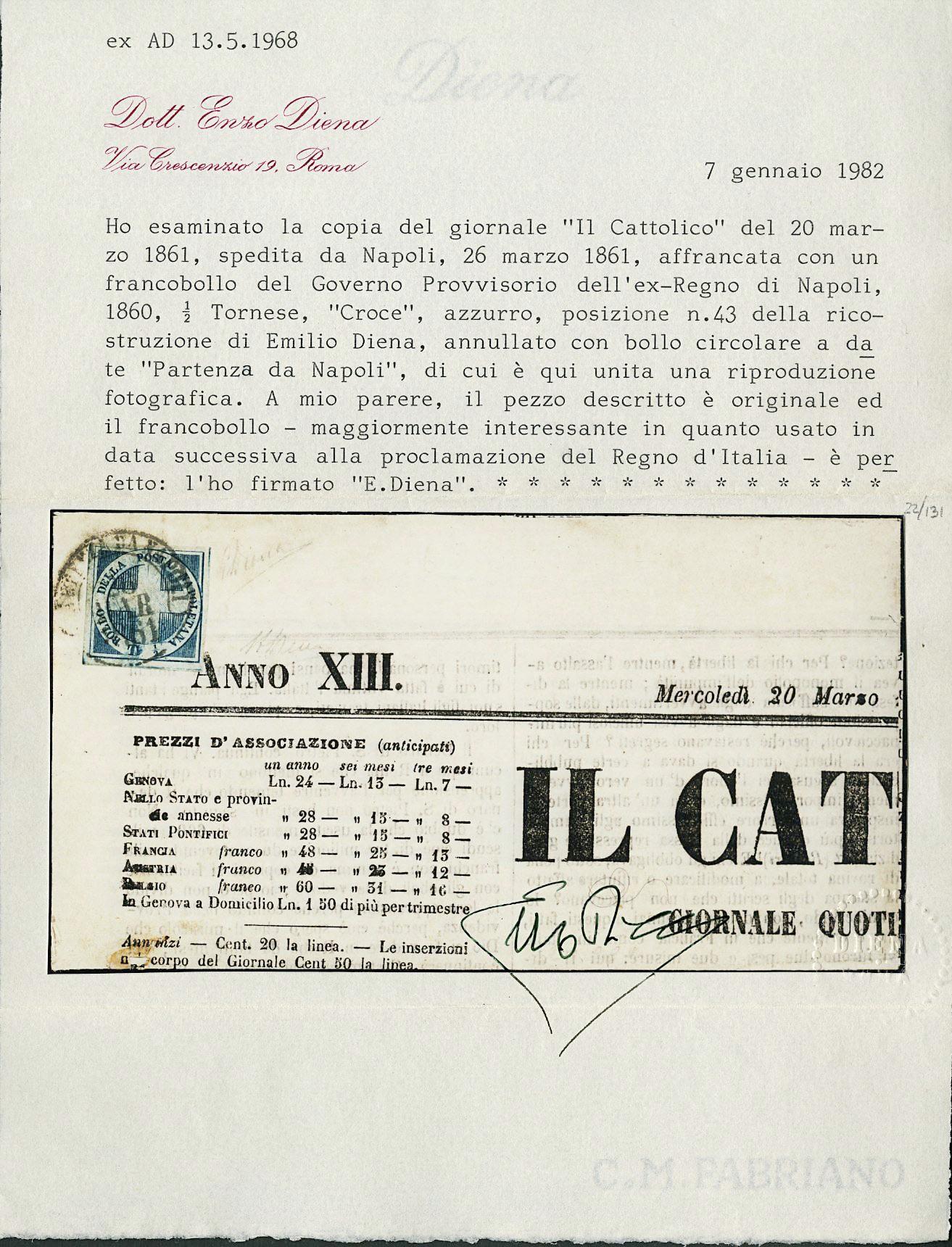 Lot 180 - NAPOLI LUOGOTENENZA posta ordinaria -  Zanaria Aste s.r.l. 9th Philatelic Auction